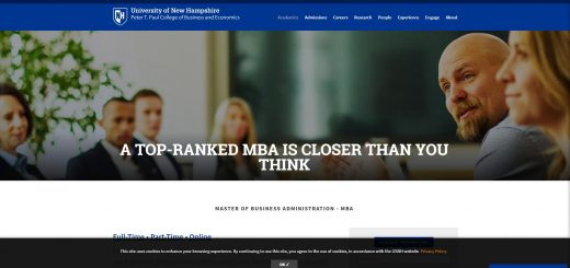 University of New Hampshire Whittemore School of Business & Economics Part Time MBA