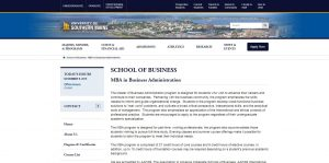 University of Southern Maine Part Time MBA