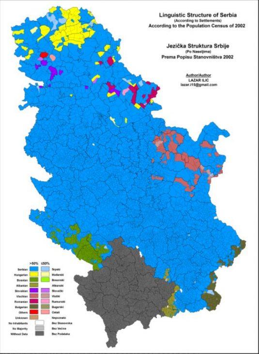 Language distribution in Serbia