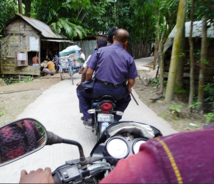 A police escort like the one in this picture is seldom necessary in rural Bangladesh