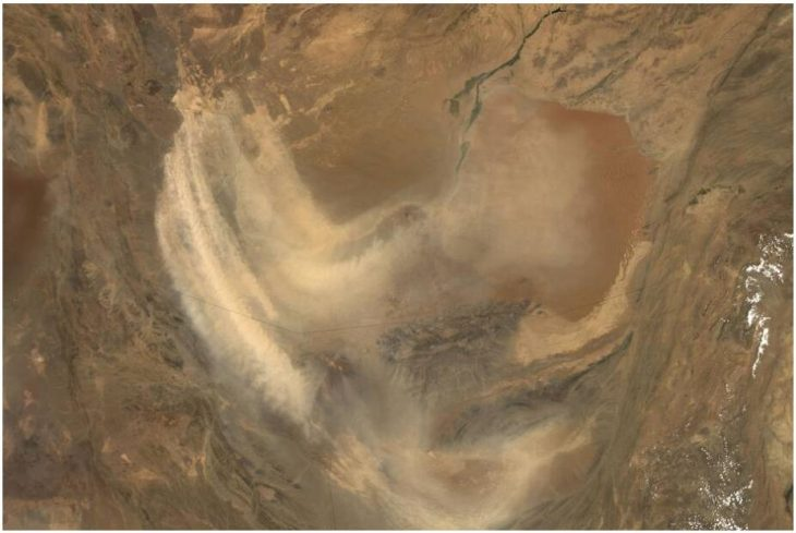 A sandstorm from the Sistan Basin stretches far across southern Afghanistan and neighboring Pakistan