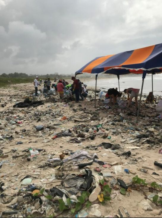 Activists cleaning the beach in the Accra area