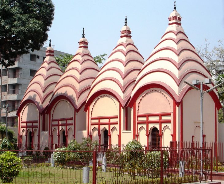 An exterior view of the Hindu Dhakeshwar Temple