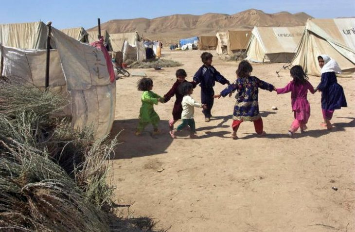 Children playing in a refugee camp in northern Afghanistan