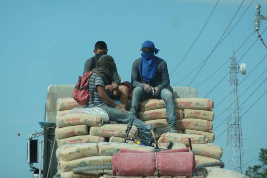 Construction workers on their way to work in the state of Campeche