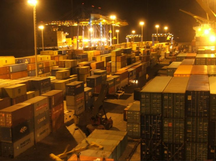 Container terminal in the port of Tema near the capital
