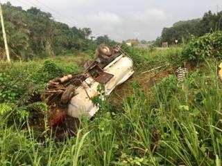 Crashed tanker truck in western Ghana