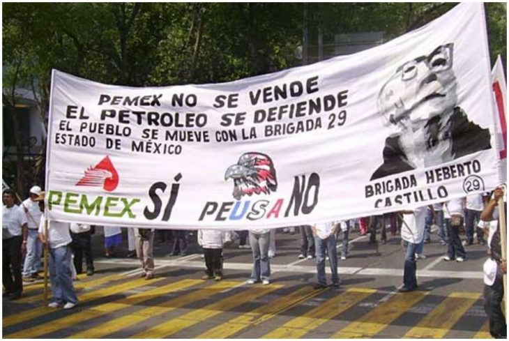 Demonstration against the privatization of the state oil company Pemex