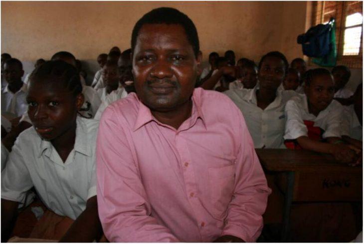 Director Edward Ndeda in the overcrowded exam class Kongowea Primary School, Mombasa