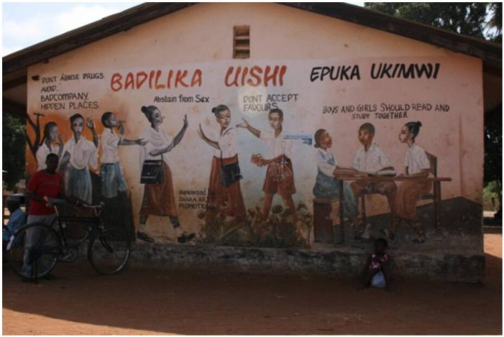 Education as HIV prevention - a painted school wall