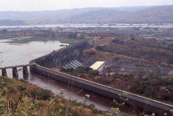 Inga I dam with branching canal to Inga II