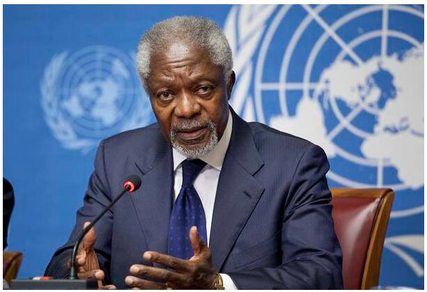 Kofi Annan at a meeting of the Action Group on Syria 2012 in Geneva