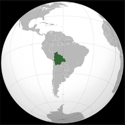 Location of Bolivia in the middle of South America