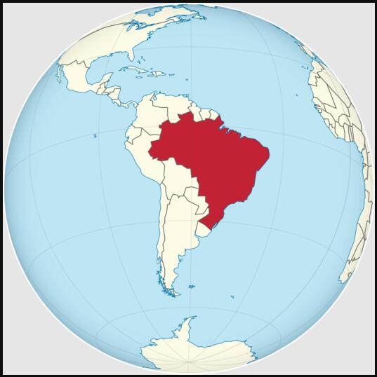 Location of Brazil in South America