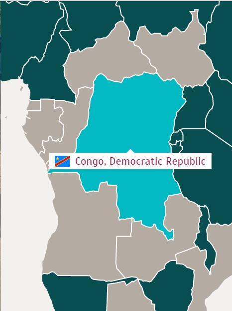 Map of Democratic Republic of the Congo