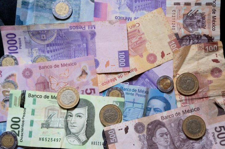Mexican banknotes and coins