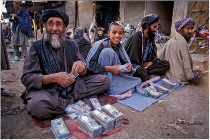 Money changer in an Afghanistan market