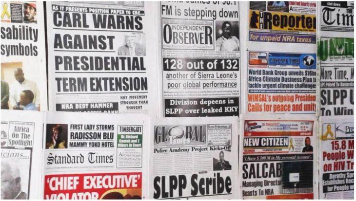 Newspaper display in Freetown