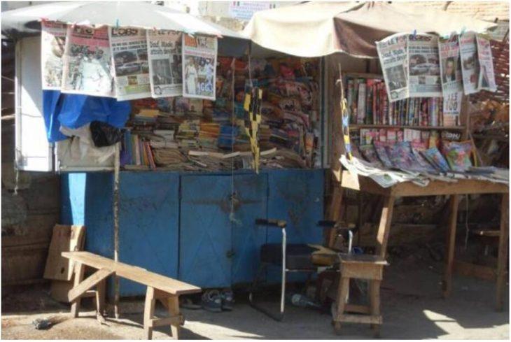 Newspaper stand in Dakar