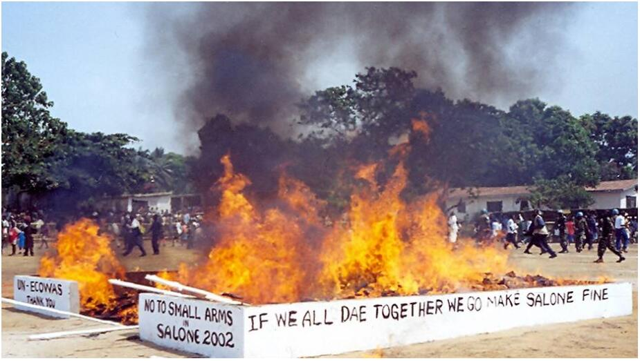 Official end of the war on January 18, 2002 - symbolic burning of rifles