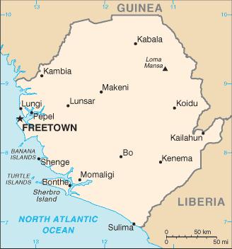 Outline map of Sierra Leone