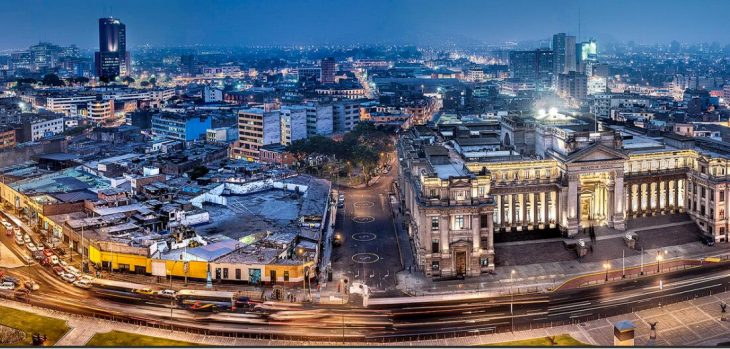 Panorama of Lima in the evening
