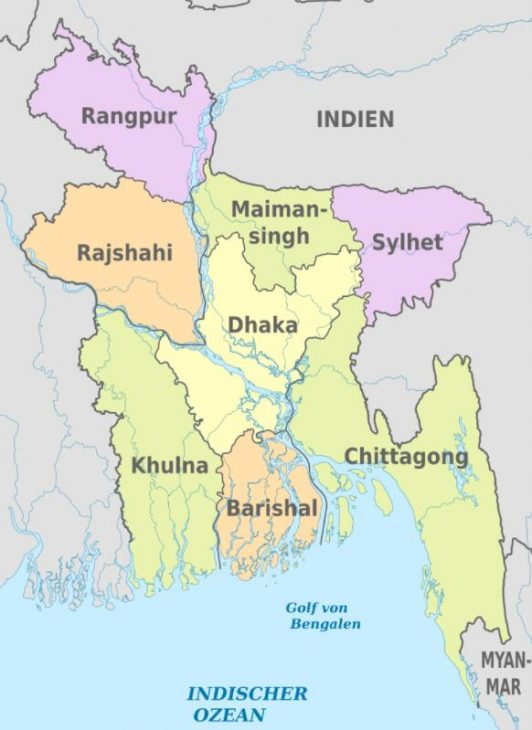 Political map of the Bangladeshi districts