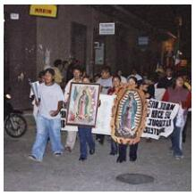 Procession in honor of the Virgen de Guadalupe in San