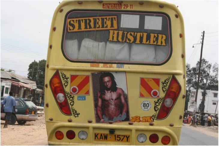 Rolling disco, unfortunately often with technical defects - a Matatu shared taxi