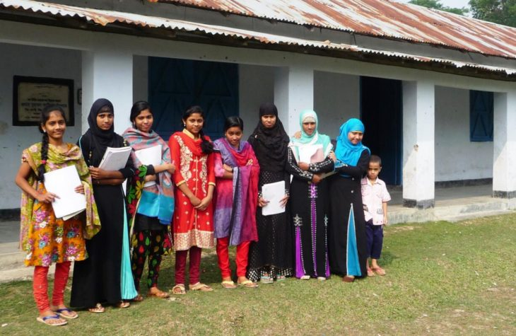 Schoolgirls in front of one of their school buildings in rural areas - here in the Khulna division