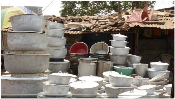 Selling cooking pots in Freetown