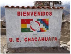Sign of the school of Chacahuaya