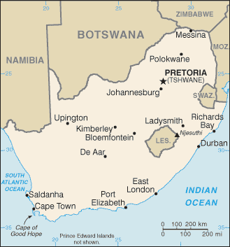 South Africa Location on Map