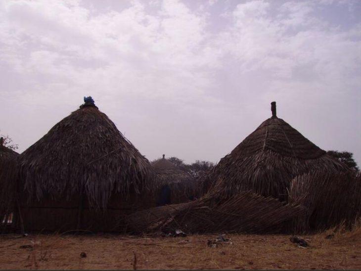 Straw hut in the village