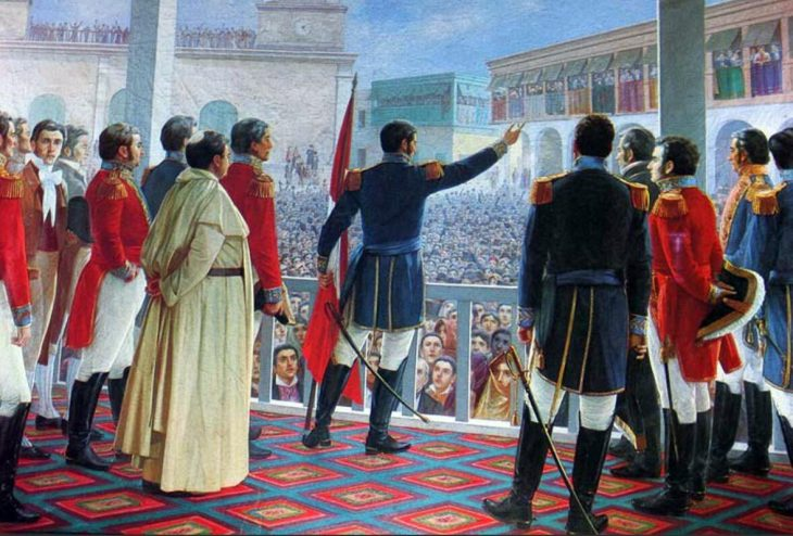 The declaration of independence by San Martin