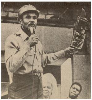 The future President Jomo Kenyatta giving a speech