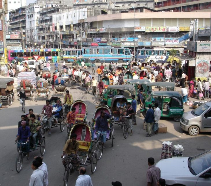 The rickshaw in all its versions is the dominant means of transport