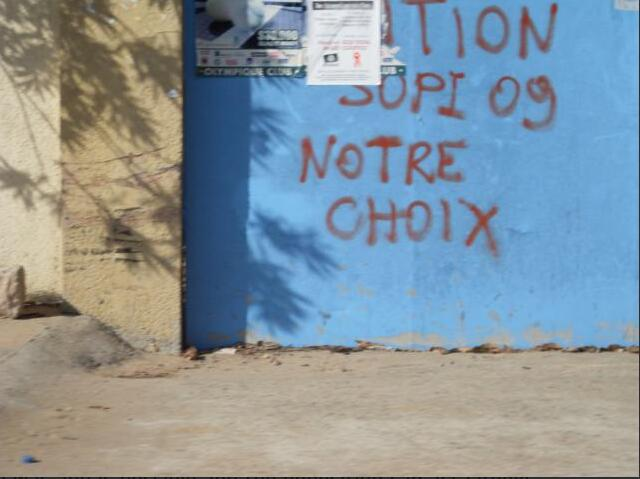The walls of Dakar are littered with political slogans