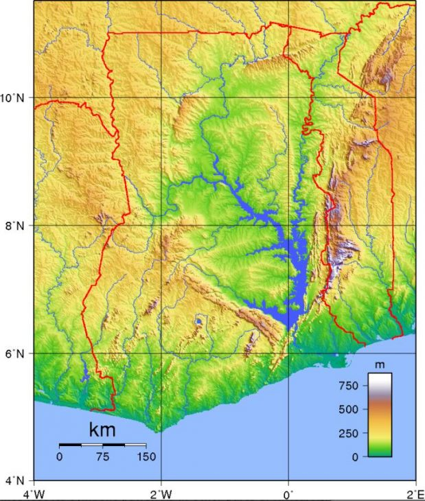 Topography of Ghana