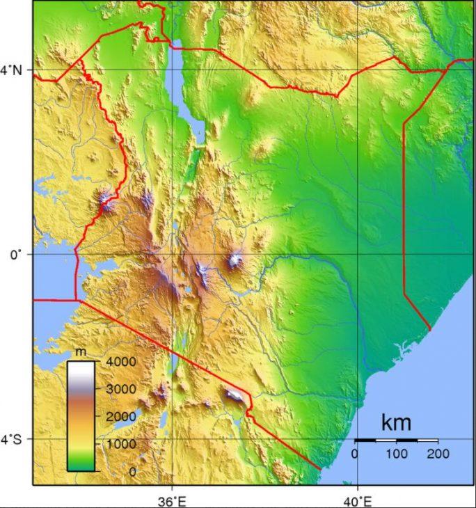 Topography of Kenya