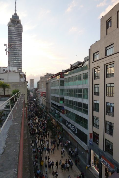 View of the Calle Madero and the Torre Latinoamericana in the historic center of Mexico City