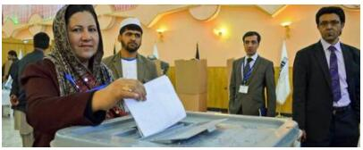 Voting in an election in Afghanistan