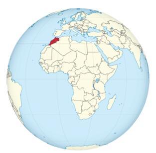Morocco on the globe