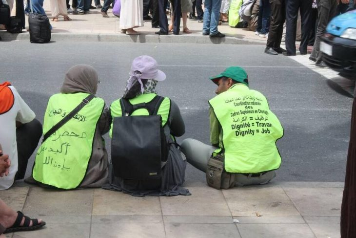 Young unemployed people demonstrate in Rabat