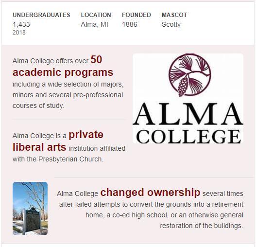 Alma College History