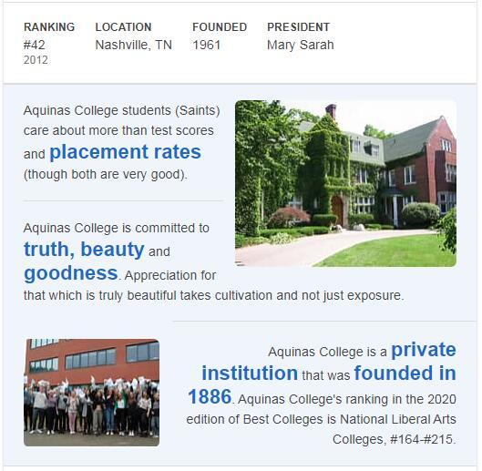 Aquinas College Nashville, Tennessee History