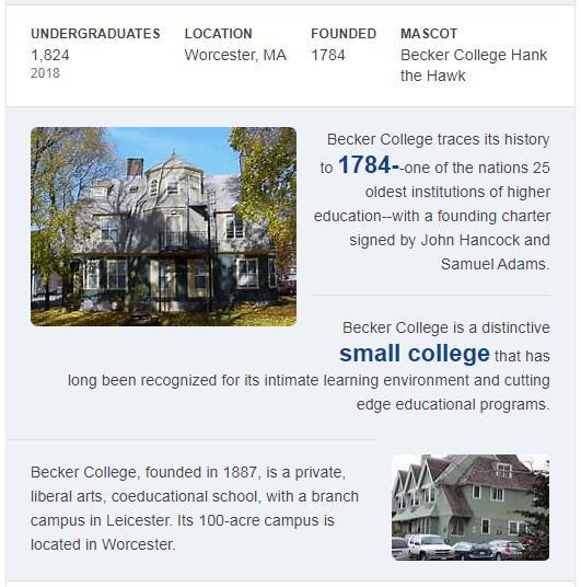 Becker College History