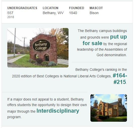 Bethany College West Virginia History