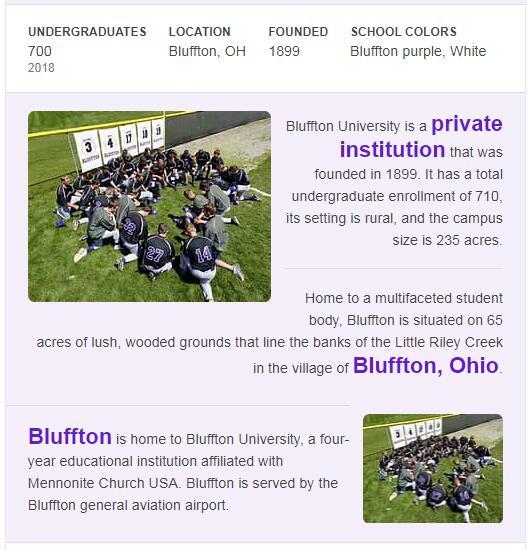 Bluffton University History