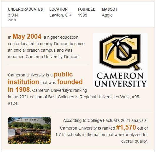 Cameron University History